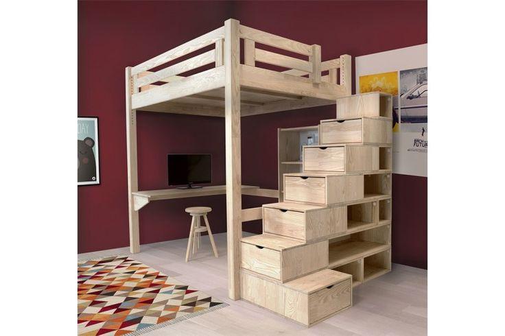 mezzanine alpage avec escalier cube bois lit mezzanine abc meubles pinterest lits. Black Bedroom Furniture Sets. Home Design Ideas