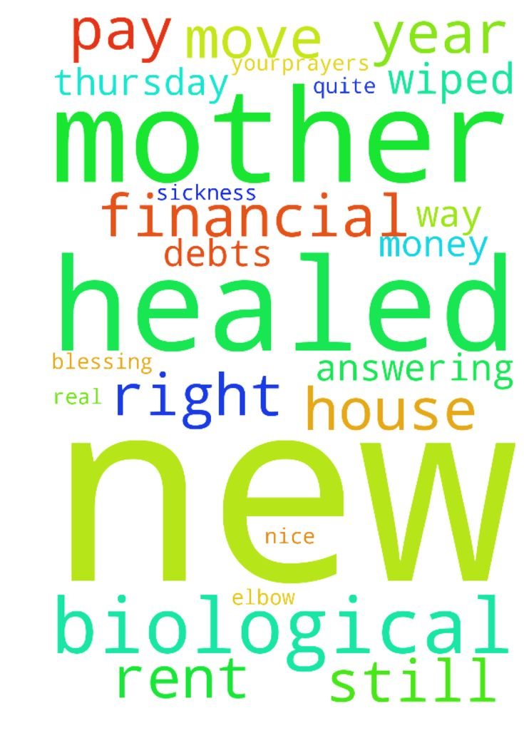 Please pray for my biological mother to be healed from - Please pray for my biological mother to be healed from her sickness and for her to own the house she lives in, and for financial blessing thank you all Thank you Jesus Please also have looked at new place thank you all for your,prayers its real nice and quite and peaceful please pray I have the money to get a new bed and new clothes and to pay rent by Thursday please please thank you Father in heaven for answering my prayers. Also…