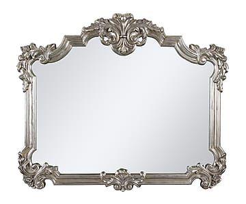Espejo de resina y madera DM, plateado - 113x94 cm