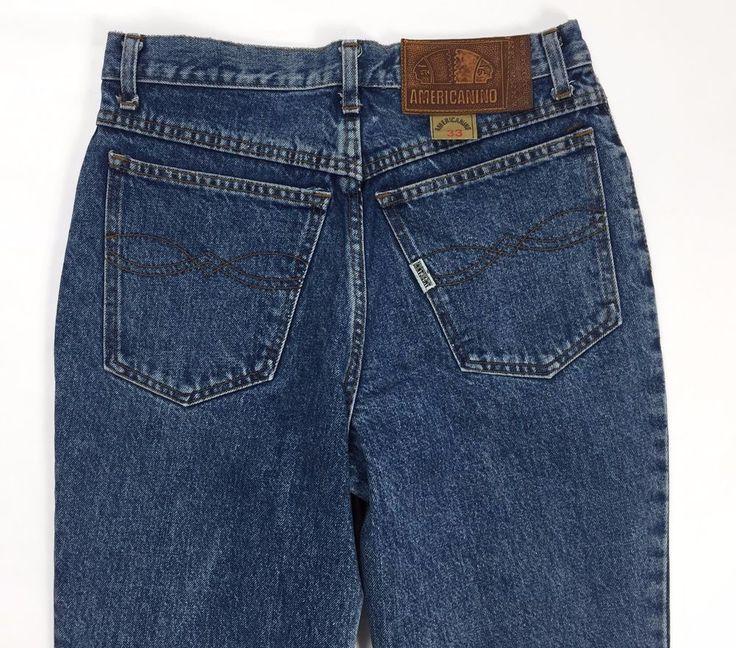 Americanino tg 44 jeans donna sexy carota slim skinny blu mom jeans pants T339
