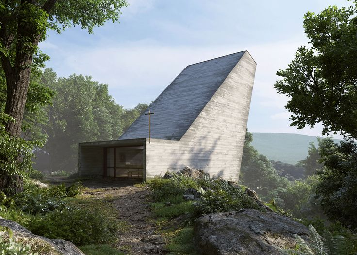 One end of this concrete chapel by Joaquim Portela Arquitetos is designed to reach up towards the sky from its proposed site in the Swiss Alps