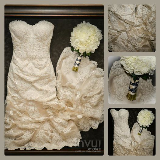 Do It Yourself Wedding Gown Preservation: Framed Wedding Dress And Bouquet Framed By Floral