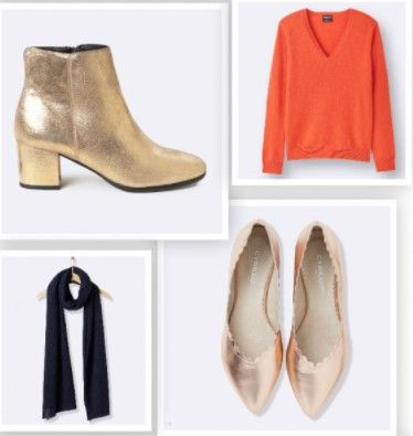 Fall/Winter 2017-2018 Trends. Golden heeled ankle boots. Coral sweater. Black scarf. Golden pumps.