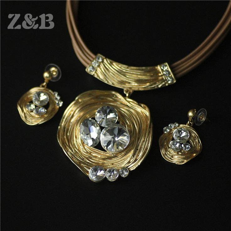 Indian Jewelry sets statement necklace earrings for women parure bijoux femme jewellery gold plated kristallen sieraden crystal
