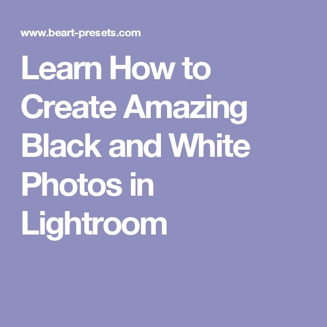 Learn How to Create Amazing Black and White Photos in Lightroom