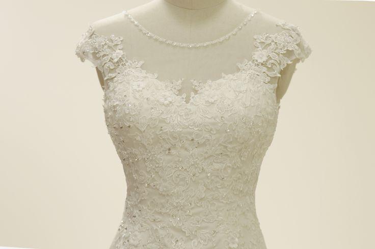 Marfim casamento vestido sereia Applique frisado tule vestido de noiva-No.3