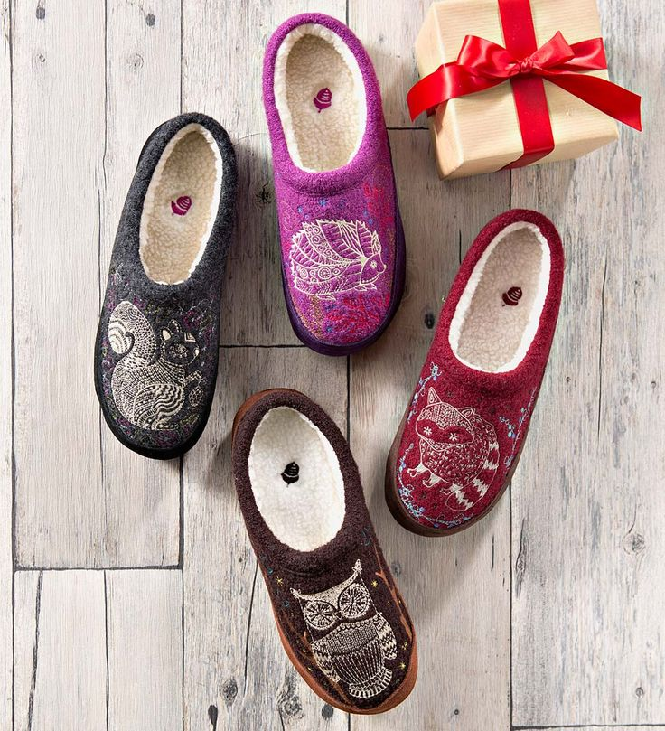 Acorn Women's Forest Slippers | Slippers - Slippers for women - Acorn slippers with woodland animal designs. Charming!