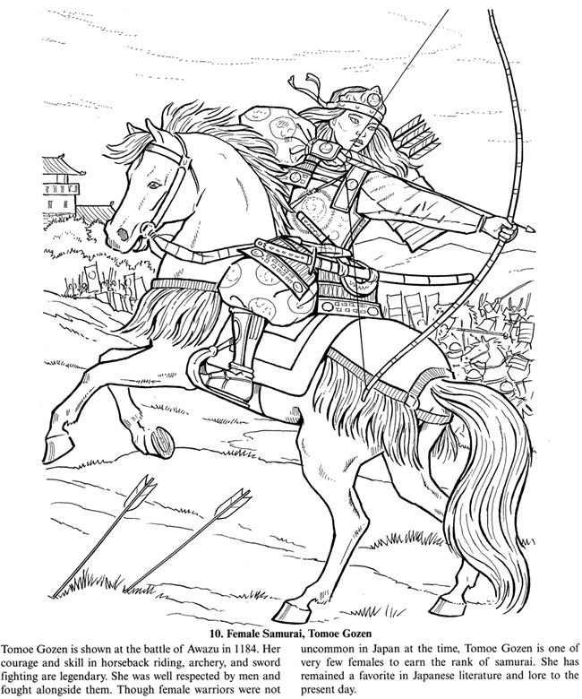 Female Samurai Warrior Free Sample Coloring Page From
