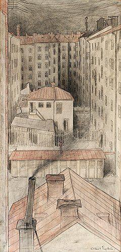 """ALBERT ENGSTRÖM 1869-1940, """"Bakgårdar, Kungsholmen"""""""