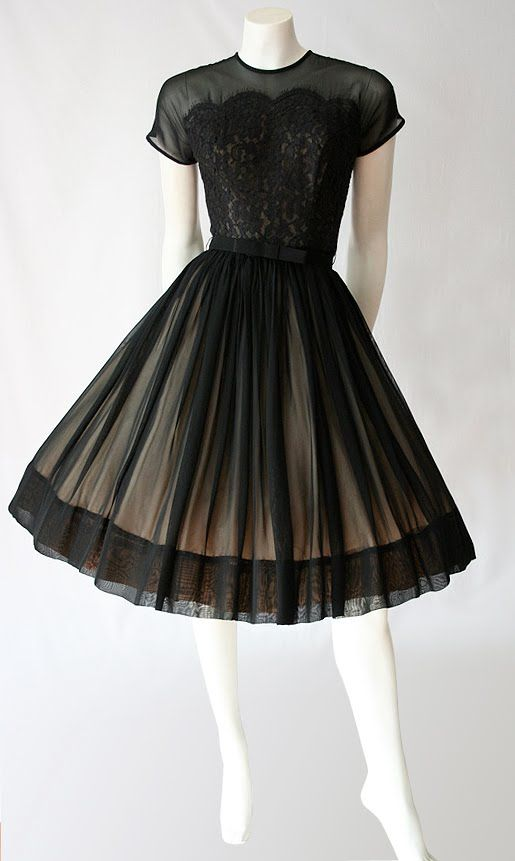Saba Jnr of California 1950's Black lace and chiffon overlay with Nude acetate lining cocktail dress *vintage leavers*