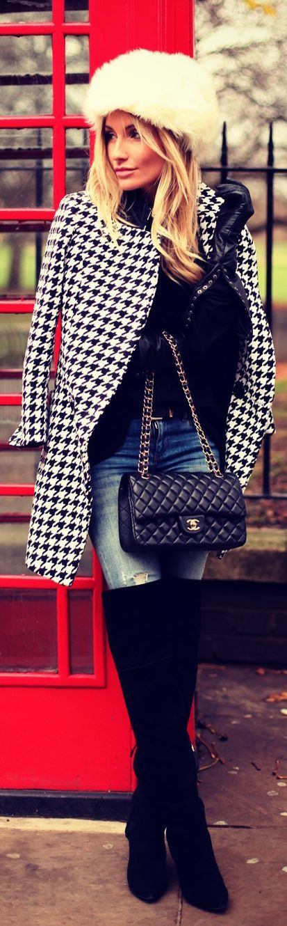 Winter City chic style. (houndstooth, thigh high boots, jeans, fur hat and Chanel handbag)