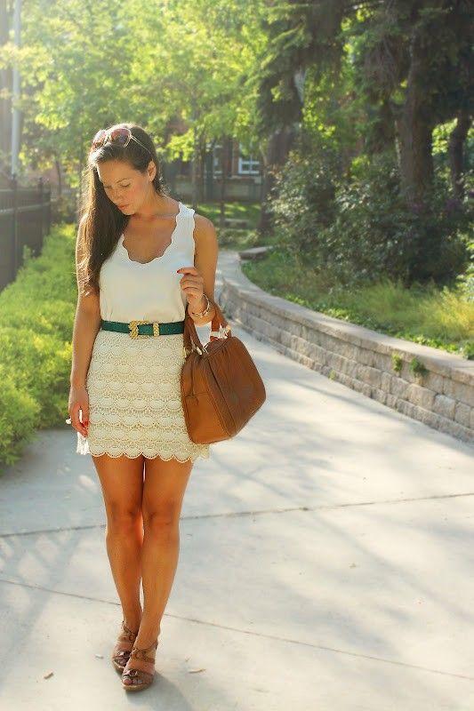 white cute dress with green belt