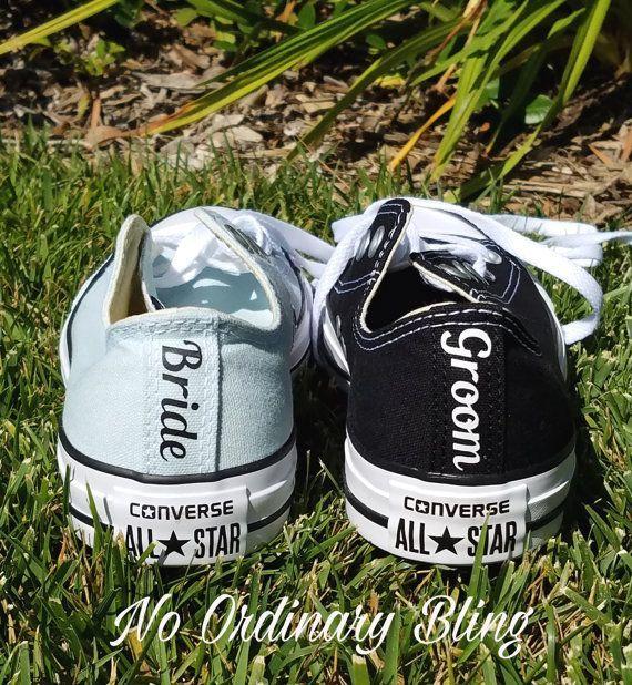 Set 2 Custom Wedding Converse Heels  by NoOrdinaryBling on Etsy