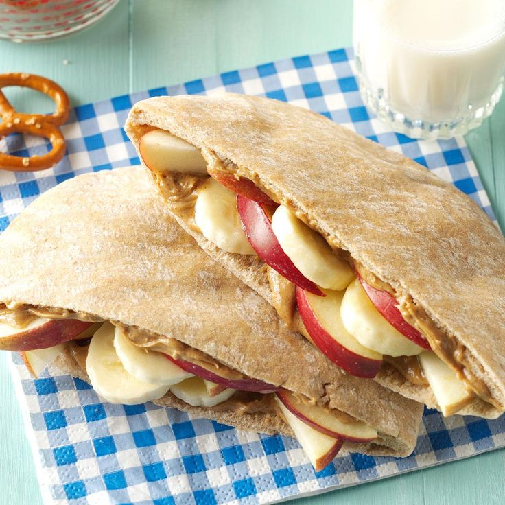 Fruity Peanut Butter Pitas Recipe -My kids ask for these pita sandwiches all the time. They haven't noticed that, as good as they taste, they're also good for them. —Kim Holmes, Emerald Park, Saskatchewan