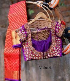Orange Bridal Saree Pearl Blouse | Saree Blouse Patterns