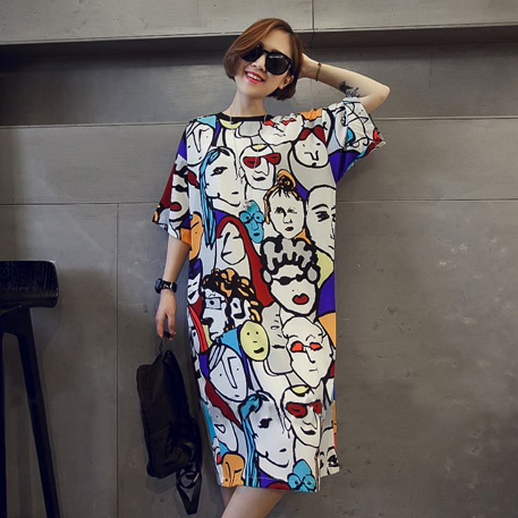 Cheap dress tie, Buy Quality dresses debenhams directly from China dress disco Suppliers: Plus size women dress 2016 new style cotton cartoon print long t shirt dress summer casual loose robe maxi party tshirt