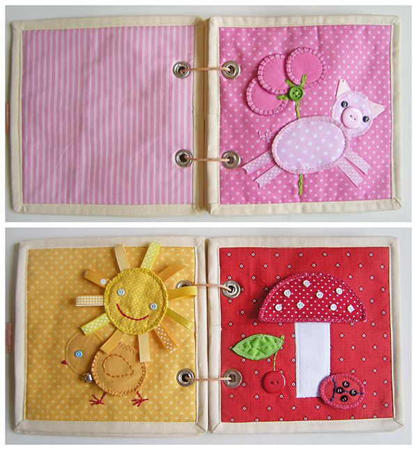 Quiet Book Pages: Pink (Pig and Balloons), Orange (Sun and Chick), and Red (Mushroom, Cherry and Ladybugs)
