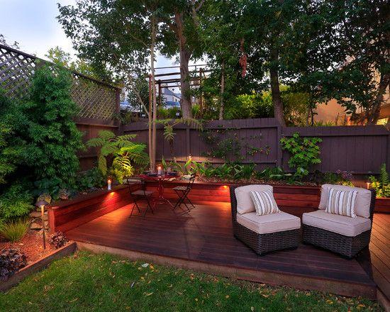 small garden landscape design wooden deck dining table