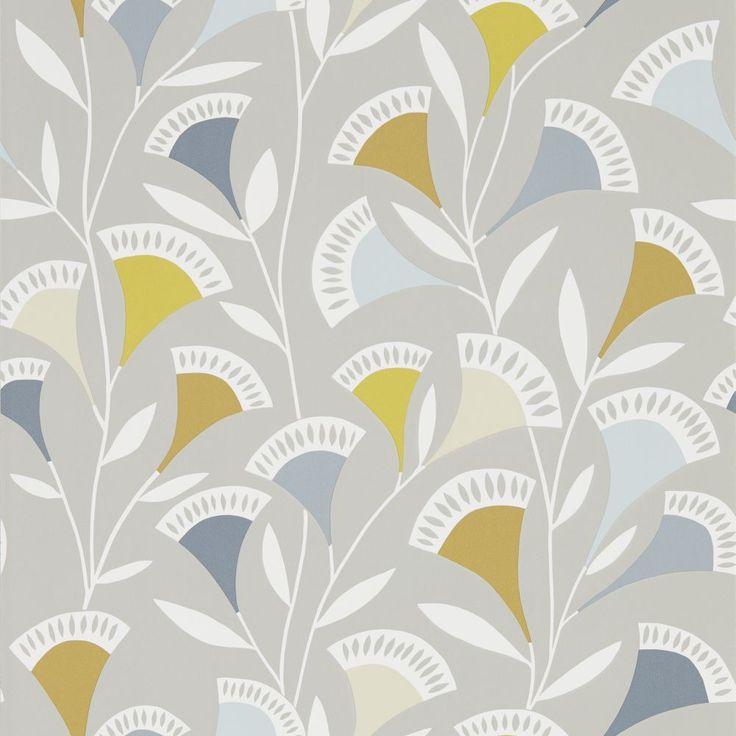 Scion Noukku Dandelion / Butterscotch / Charcoal Wallpaper main image