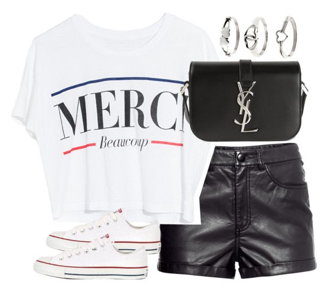 """Untitled #2330"" by plainly-marie ❤ liked on Polyvore featuring H&M, Lovers + Friends, Converse, Yves Saint Laurent and Tressa"