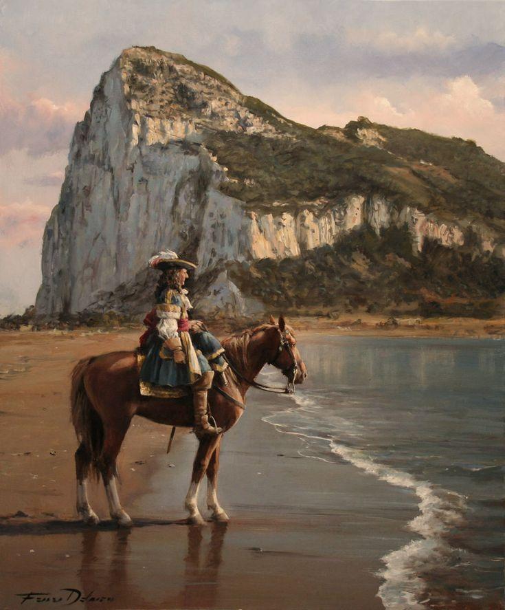 """""""El último de Gibraltar"""". Sargento Mayor de Batalla D. Diego de Salinas, 1704. Obra de Augusto Ferrer-Dalmau"""