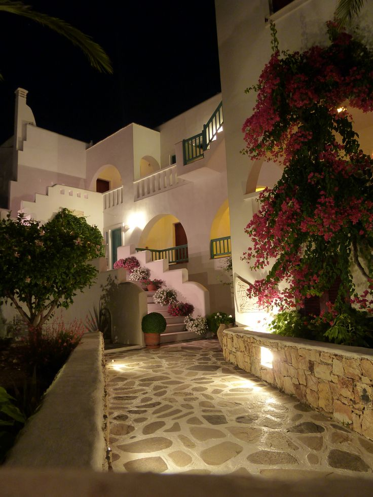 Villa Naxia at night, Naxos, Greece