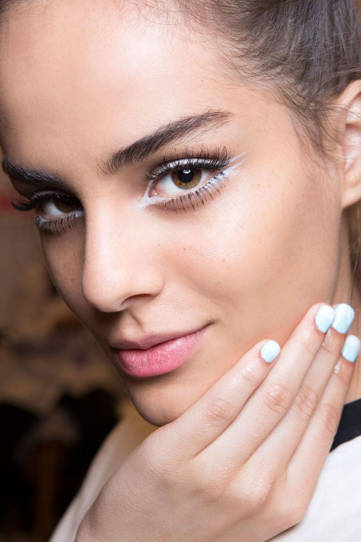 The Best Beauty Looks From New York: Spring 2015 - Nanette Lepore graphic liner and long lashes. False lashes top and bottom by Grace Lee, with white eyeliner winged on the inner and outer corners
