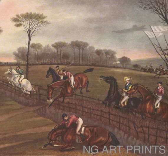 Large vintage sporting print horse racing british country sports horse print 1950s