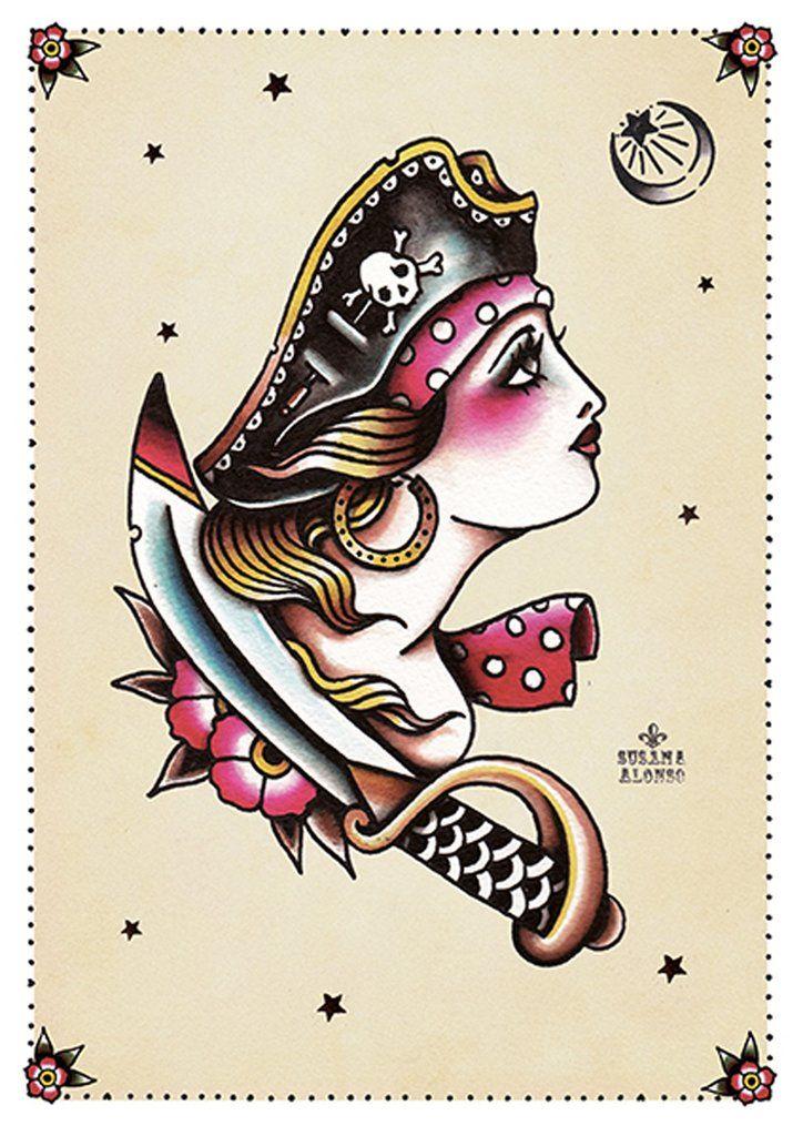 Pirate II by Susana Alonso Girl Tattoo Portrait Canvas Fine Art Print – moodswingsonthenet
