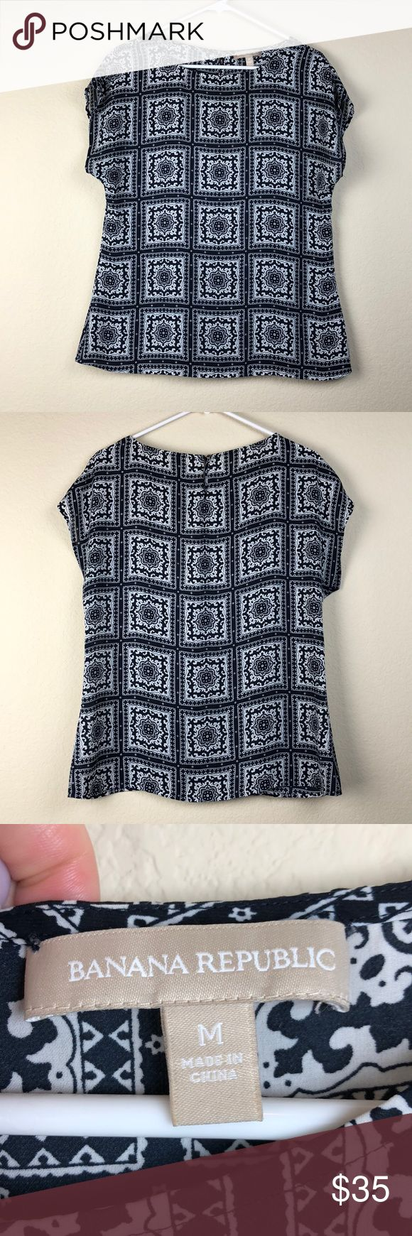 Banana Republic Short Sleeved Printed Blouse Super lightweight printed top from Banana Republic. So pretty and perfect for a hot day.   From shoulder to hem - 25.5 inches  Chest - 18.5 inches Banana Republic Tops Blouses
