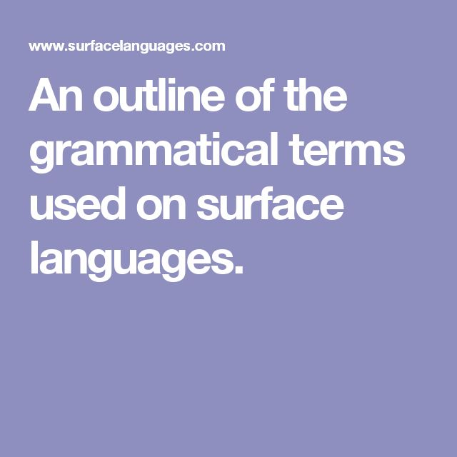 An outline of the grammatical terms used on surface languages.