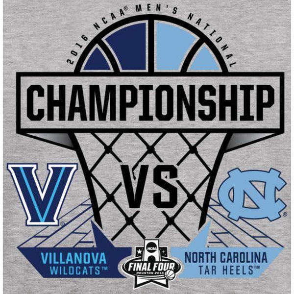 North Carolina Tar Heels vs. Villanova Wildcats 2016 NCAA Men's Basketball National Championship Matchup Game Point T-Shirt - Heathered Gray