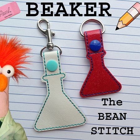 Beaker - TWO(2) Sizes Included!  #thebeanstitch #beanstitchers #TBS #ith #inthehoop #machineembroidery #felties #feltie #embroidery #digitaldownload #keyfobs #bagtag #diy #snaptab #snapbean #handmade #vinyl #felt #craft #etsy #shopsmall #embroiderygift #travel #everyday #design #multipurpose #science #school #lab #experiment #keychain #beaker