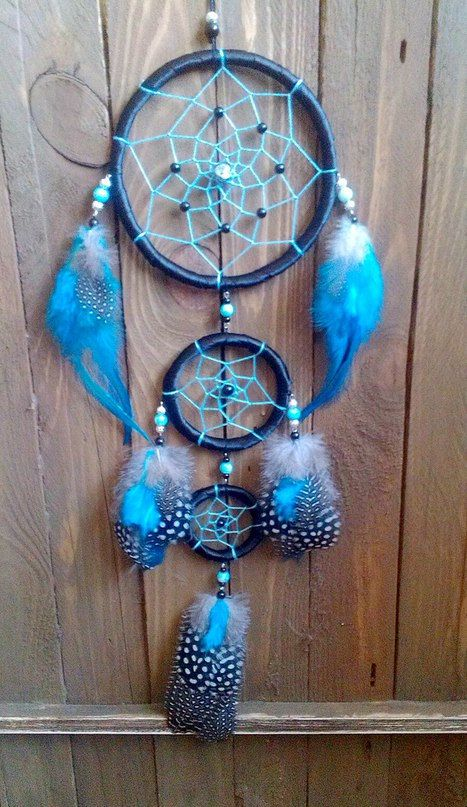 Blue dream catcher. Boho dream catcher. by MyFreeDreams on Etsy