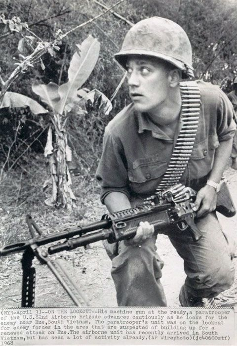 A cautious soldier from 82nd Airborne Brigade, on the lookout near Hue ~ Vietnam War.