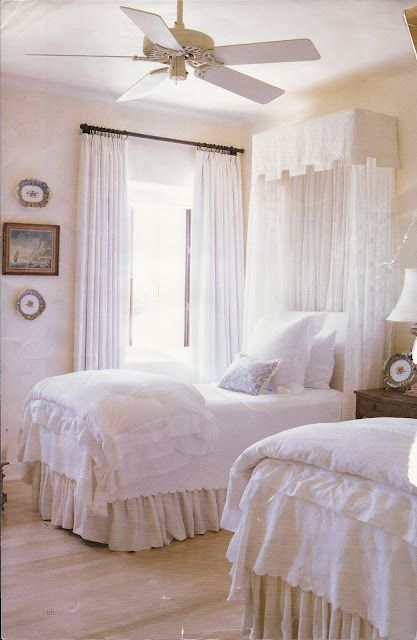 Ruffle white bedding with burlap skirt. Love!