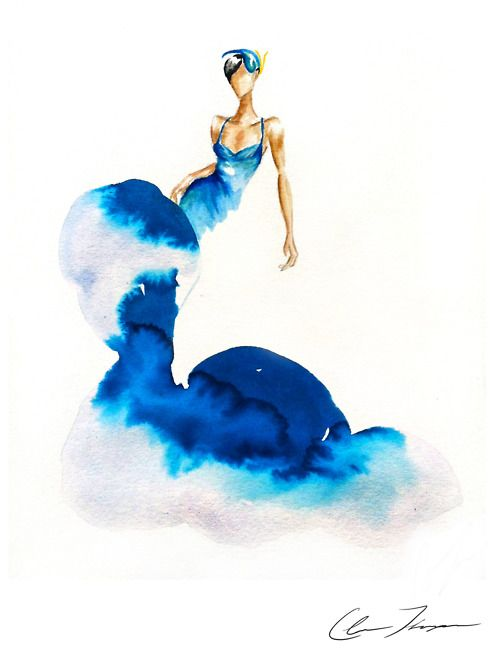 Something Blue | Claire Ashley ( Claire Thompson )   #watercolor #fashion #illustration |  via helloclaire.com