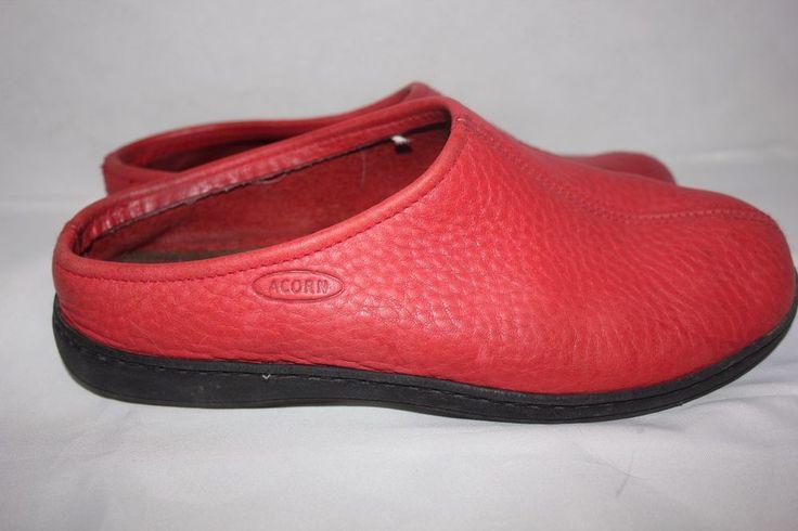 ACORN Slipper Shoes Sz 6 Red Leather Slip On Mule Moc Indoor / Outdoor VGU #Acorn #SlipperShoes