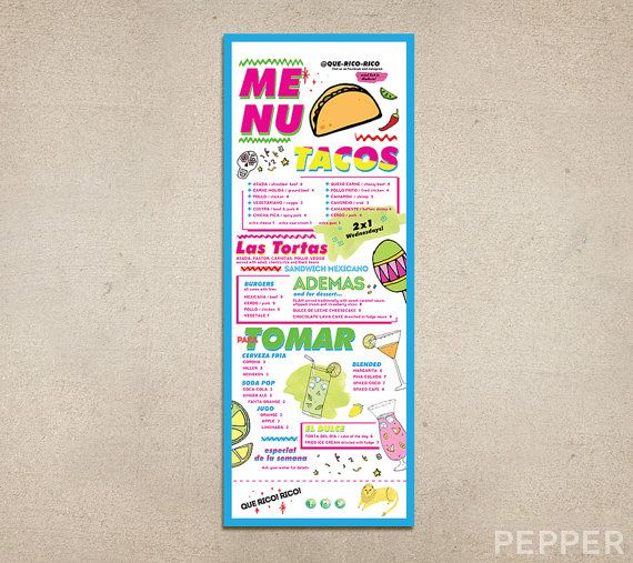 13 best pepper menu design images on pinterest menu design menu custom restaurant menu bright funky printable pdf template diner pub brunch coffee shop fast food cafe drinks specials campus tacos malvernweather Gallery