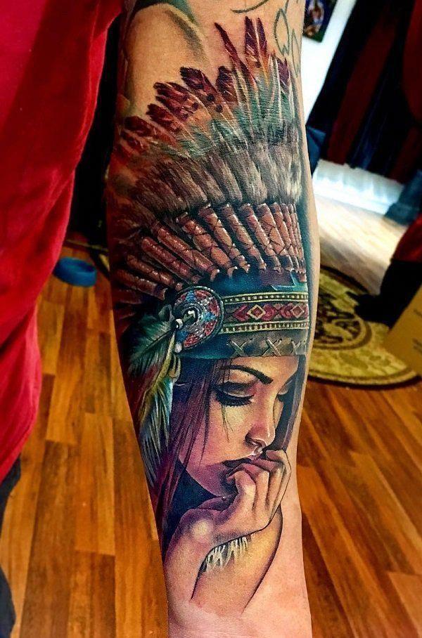 64aa15729bf74 Colored Amazing Native American Sleeve Tattoo - 70 Native American Tattoo  Designs #NeatTattoosIWouldHave #sleevetattoos
