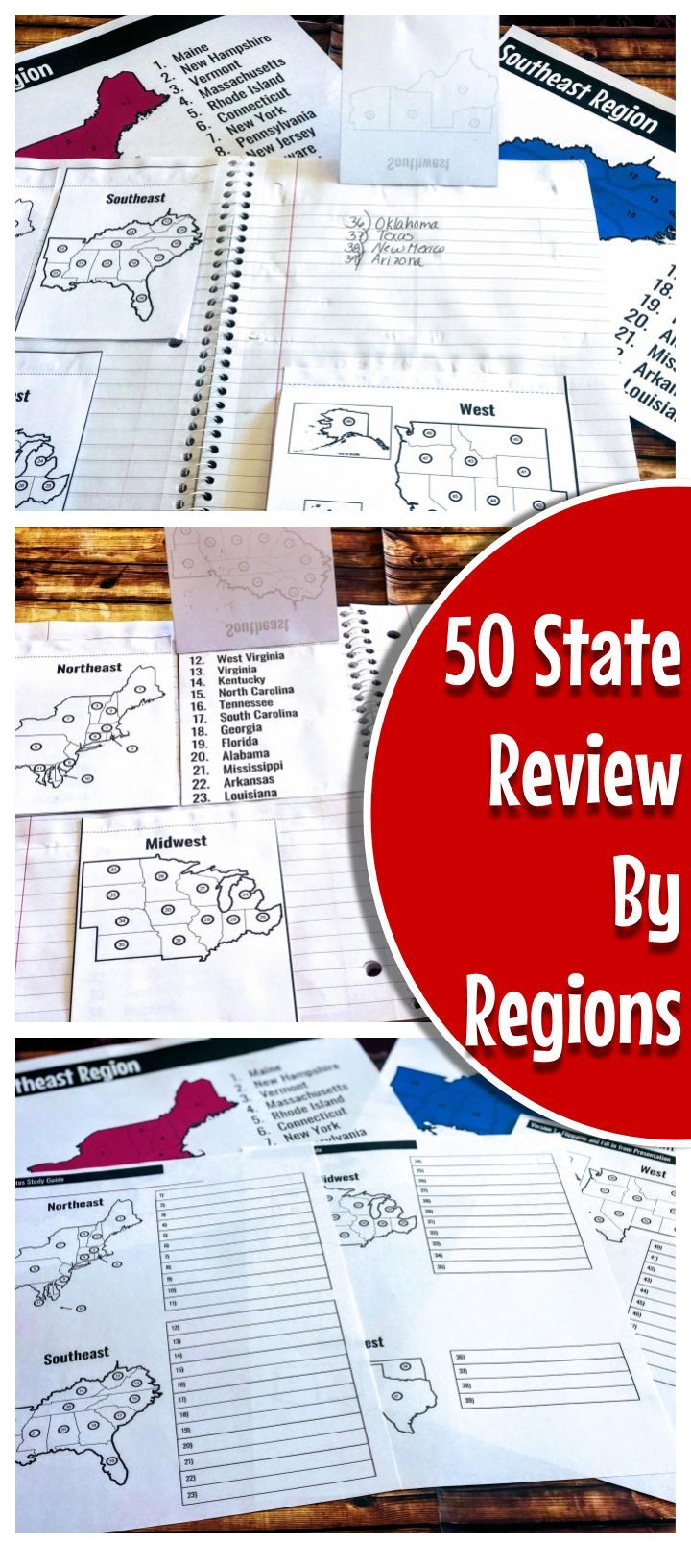 Interactive Notebook Study Guide with Flippables: 50 States | Ideas on