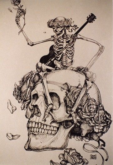 Grateful Dead merchandise: drawing by ? Lopez of a skeleton holding a rose and wearing a guitar, sitting on a skull with roses, that was part of a display at an unknown location
