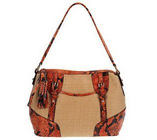 B.Makowsky SoftStrawZipTop Shoulder Bag with Python Print Leather