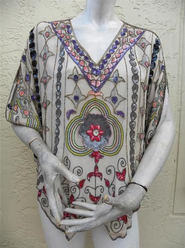 Art Deco Heavily Beaded Blouse: