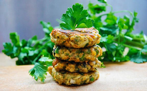 Lentil and Eggplant Patties with Olives and Herbs