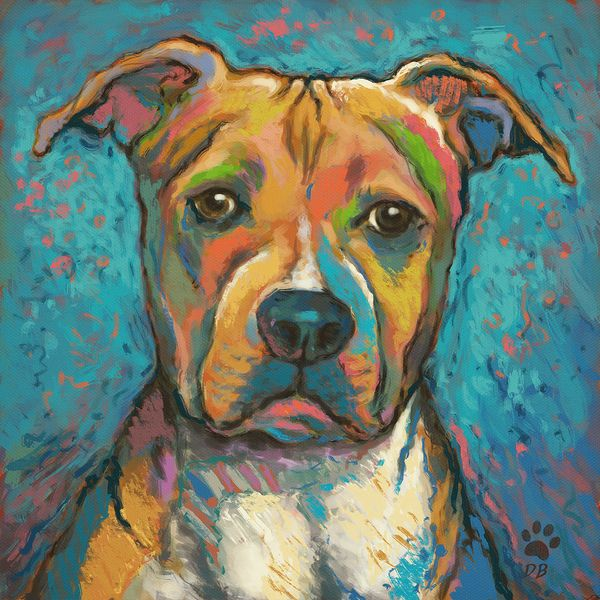 Pitbull Paintings On Canvas