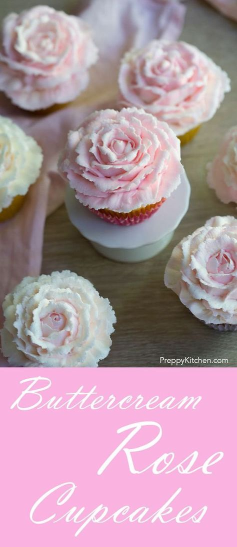 Beautiful buttercream roses top a moist vanilla cupcake. via /preppykitchen/