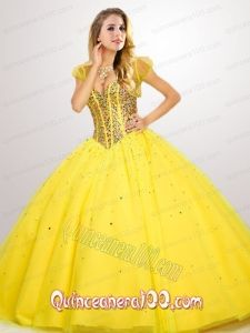 Fashionable Beaded Decorate Quinceanera Dress in Yellow for 2015