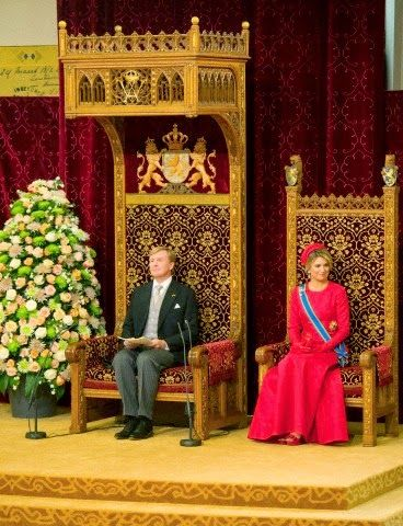 King Willem-Alexander addresses his speech from the throne with at his right Queen Maxima in the Ridderzaal (Knights hall) at annual Prinsjesdag in The Hague, The Netherlands, 16.09.2014.