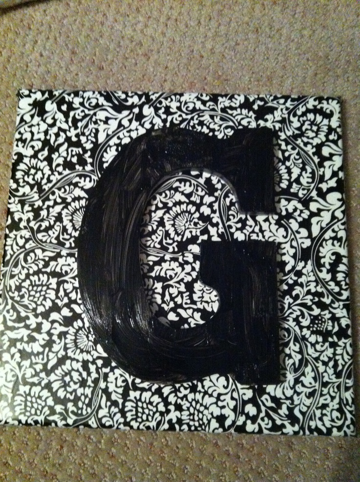 Wall Decor--- canvas, contact paper and wooden letter ...